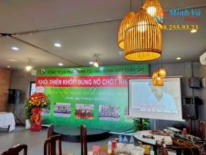 Hình ảnh thực tế dàn karaoke Minh Vũ cho thuê phục vụ âm thanh tại nhà hàng